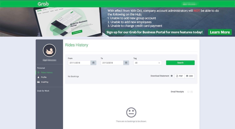 GrabTaxi Hub's Dashboard