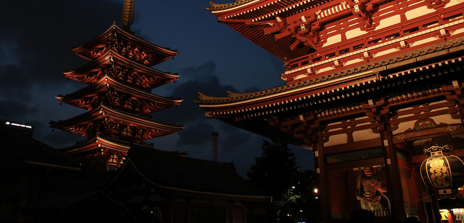 Sensoji Temple at Daytime and Nighttime