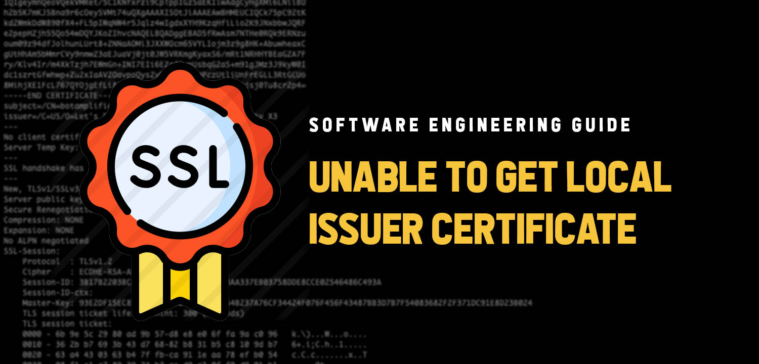 "Fixing ""Unable to get local issuer certificate"" issue."
